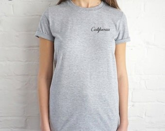 Pocket California T-shirt Top Shirt Tee Summer Fashion Blogger Slogan Cali
