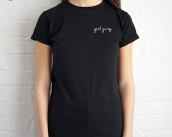 Pocket Girl Gang T-shirt Top Shirt Tee Summer Fashion Blogger Slogan Grunge Tumblr