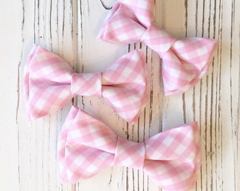 light pink checkered gingham bowtie - Daddy and son - pink bowtie - blush pink bowtie - Ring bearer's bowtie - pink gingham hairbows