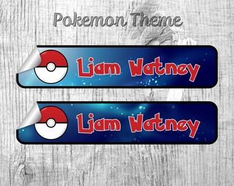 Pokéball Label, Pokémon Label, Pikachu Label, Clothing label, Name Label, Custom Clothing Label, Custom Sticker, name Sticker