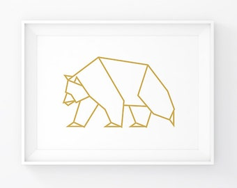 Bear Gold, Bear Art, Geometric Bear, Bear Wall Art, Origami Bear, Bear Prints, Bear Wall Decor, Bear Poster, Gold Art, Woodland Decal, Bears