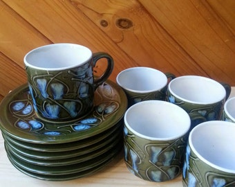 Retro coffee set. Japanese coffee set. Olive green pottery