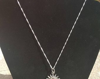 Celestial sun and moon sterling silver necklace