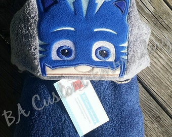 PJ Masks Catboy inspired Hooded Bath Towel, PJ Masks Inspired, Blue Catboy, Hooded Bath Towel, Kids Bath Towel, Custom Bath Towel