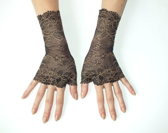 Womens Fingerless Gloves, Lace fingerless Gloves,Black Gloves.Fingerless Gloves, Fashion gloves,boho, steampunk