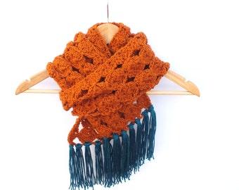 cinnamon scarf, cinnamon brown,crochet scarf, cinnamon knit scarf, fall knits, wrap , cinnamon cowl, winter fashion, madeinUSA, crochet gift