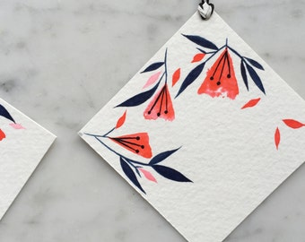 Hand-painted floral watercolor gift tags