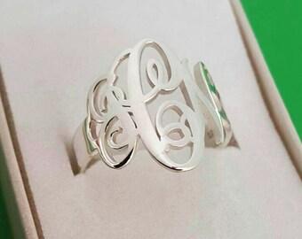 Monogram Ring / Family Ring / Ring Monogram / Name Ring / Monagram Ring / Gift for Her / Initial Ring / Silver Ring / Personalized Ring