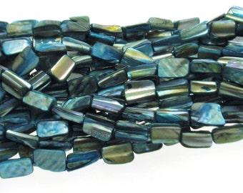 Natural Blue Dyed Shell Beads Irregular Shape 8x15mm , Natural Sea Shell Beads, Shell Beads,  Blue shell beads