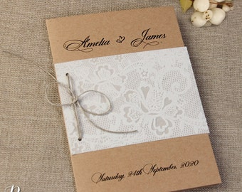 Shabby Chic Rustic Craft Eco Paper Parchment Flocked Day Invitation