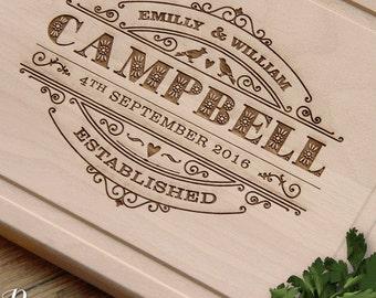 Personalised Cutting Board Engraved Beechwood for Wedding, Custom Cutting Board Anniversary Gift Wedding Gift