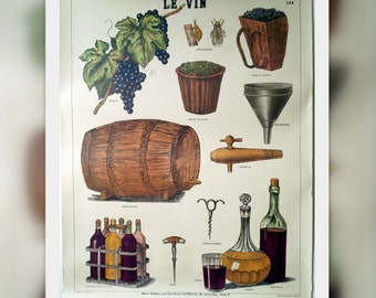"French School Poster ""The Wine"" Vintage. Le Vin No 134 Musée Scolaire"