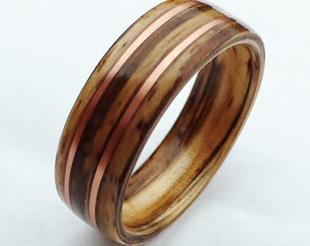 Bentwood Ring Zebrawood and Copper, Wood Wedding Band, Anniversary, Wooden Ring, Non Metal Ring