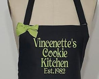 Black and Lime green apron - Grandma Apron - Vincenette's Kitchen est.1982-  anniversary gift idea- Gourmet aprons - Hostess gift idea .
