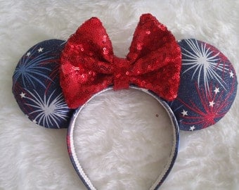 "4th of July inspired Patriotic ""Fireworks"" Red/White/Blue Custom Mouse Ears"