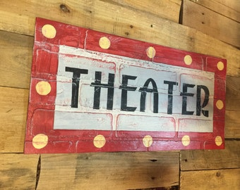 Vintage Theater Sign on Faux Brick Wall