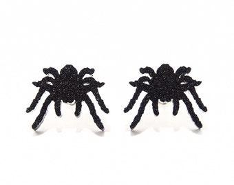 Black Spider Stud Earrings, Halloween Earrings, Tarantula Earrings, Sparkle Spider Earrings, Tarantula Studs, Creepy Earrings, Novelty Studs