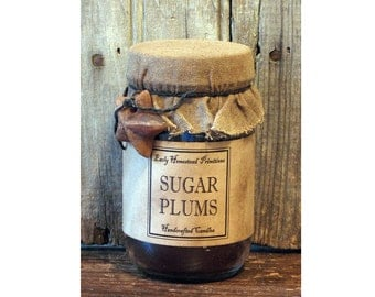 Primitive Candle, Christmas Candle, Country Rustic Sugar Plums Scented Jar Candle