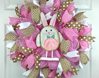 Easter Deco Mesh Wreath, Spring Wreath, Bunny Wreath, Geo Mesh Wreath