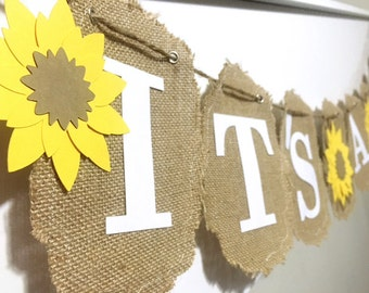 Sunflower Itu0027s A Girl Banner, Burlap Summer Banner, Sunflower Decorations, Sunflower  Baby Shower