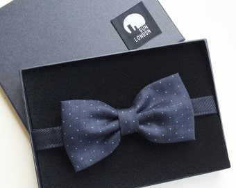 Sloane Linen Navy Blue Men's Bow Tie