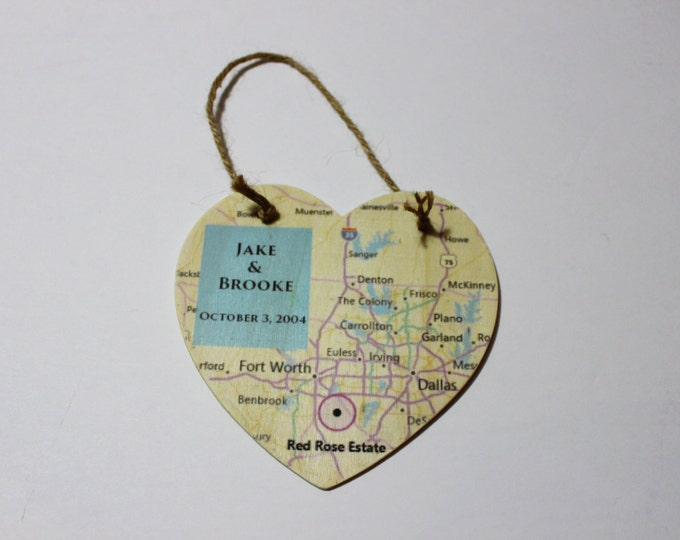 Wood Heart Map Plaque Personalized With Your Favorite Place!