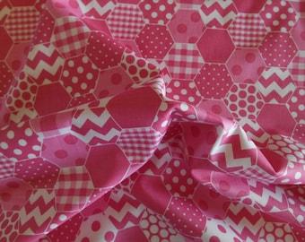 Pink hexi Riley Blake hexagon chevron dots gingham check SALE