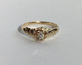 SALE! -Antique 14K Gold Diamond Engagement Ring size 5.5