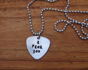 Hand Stamped Guitar Pick Charm Necklace I Pick You Customized Available