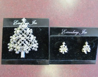 Eisenberg Ice Christmas Tree Earrings and Brooch
