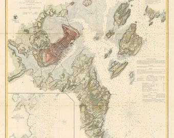 Portland Harbor Nautical Chart 1863