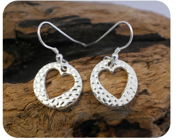 Silver Heart Earrings - Textured Heart Earrings