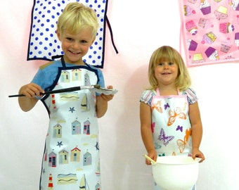 Wipeable kids aprons beach hut kids apron butterfly wipeable apron girls art aprons boys baking apron wipeable kids apron cupcake apron