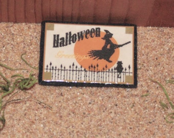 Handcrafted Miniature Fairy Garden Or Dollhouse HALLOWEEN Witch Flying With Moon Background Door Mat Or Rug