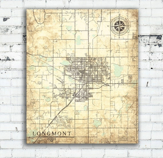 LONGMONT CO Canvas Print Colorado Co Town Plan City Vintage