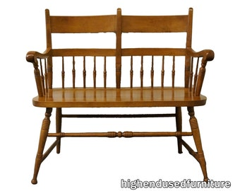"""TELL CITY Young Republic Rock Maple 36"""" Deacon's Bench Loveseat Andover Finish"""