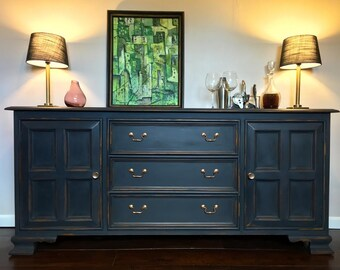 Grand Drexel, Vintage Buffet, Credenza, Hand Painted, Annie Sloan, Chalk Paint, Graphite, Distressed