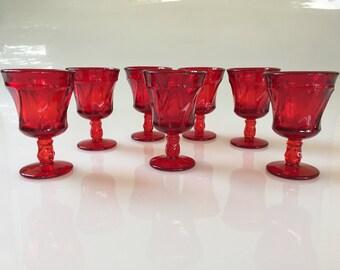 Swirl Pattern Deep Gem Red Cordial Glasses by Fostoria