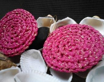 Pink Handmade Knitted Earrings Golden Shinning