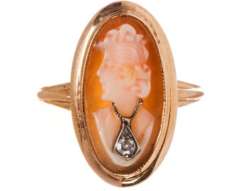 14 kt Gold Shell and Diamond Cameo Ring