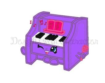 """Shopkins Embroidery Design, Shopkins applique machine embroidery design-piano-3 sizes 4x4"""", 5x7"""", 6x10"""""""