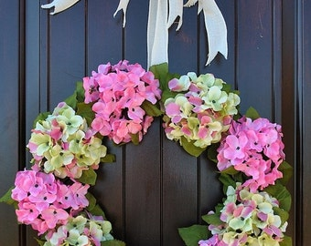 Hydrangea wreath~pink hydrangea~spring hydrangea~spring wreath~summer wreath~year round wreath~french hydrangea wreath~wreaths for door