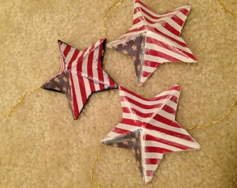 Stars and Stripes Patriotic Christmas Tree Ornaments