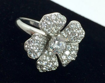 Cubic Zirconia Flower Ring Sterling Silver Clear Crystal Statement Ring Size 8