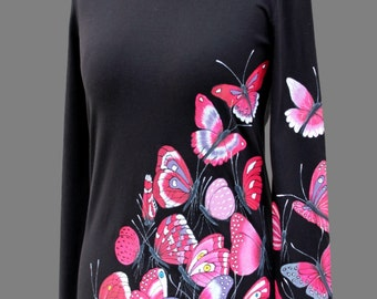 Hand-painted T-shirt-Butterfly's party-cyclamen,black,unique,original hand made t-shirt,handpainted,hand painted t-shirts,made to order