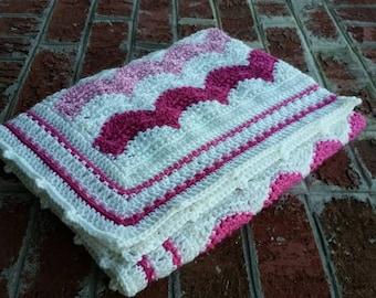 READY TO SHIP Crochet Baby Blanket, Ripple Afghan, Chevron, Pink and White, Baby Girl, Crib Blanket