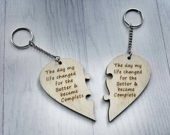 Heart Jigsaw 2 piece set , His &Hers  Engraved The day my life Changed and became Complete keyring husband love keychain Wedding Anniversary