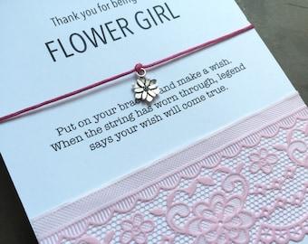 Flower girl THANK YOU, Flower girl gift, flower girl card, Flower girl bracelet, Flower girl jewelry, Wedding thank you, Flower girl, B11A