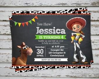 Jessie Toy Story Birthday Party Invitation Cowgirl Invitation Jessie and Bullseye Invitation DIY