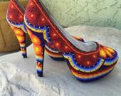 Huichol beaded heels, beads are stitched 6.5 USA SIZE